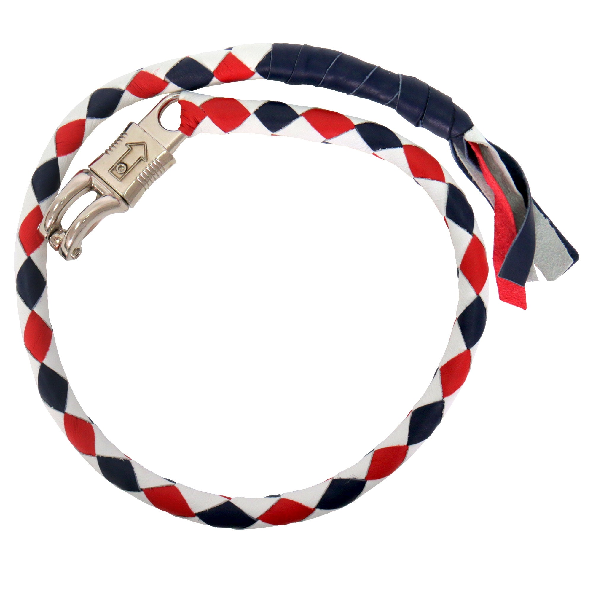 "Hot Leathers ""Get Back"" Red, White, and Blue Genuine Leather Whip"