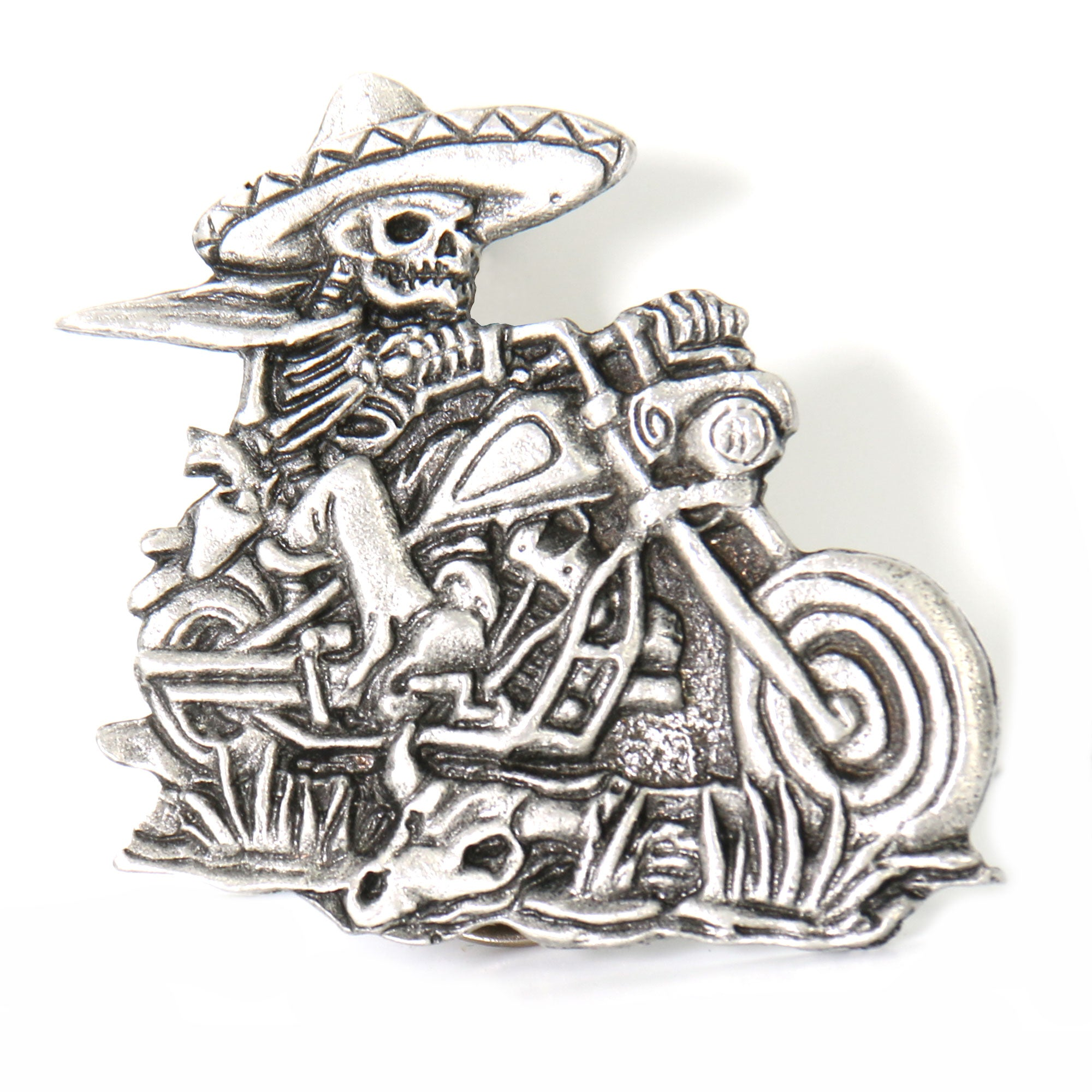 Hot Leathers Sombrero Skeleton Rider Pin