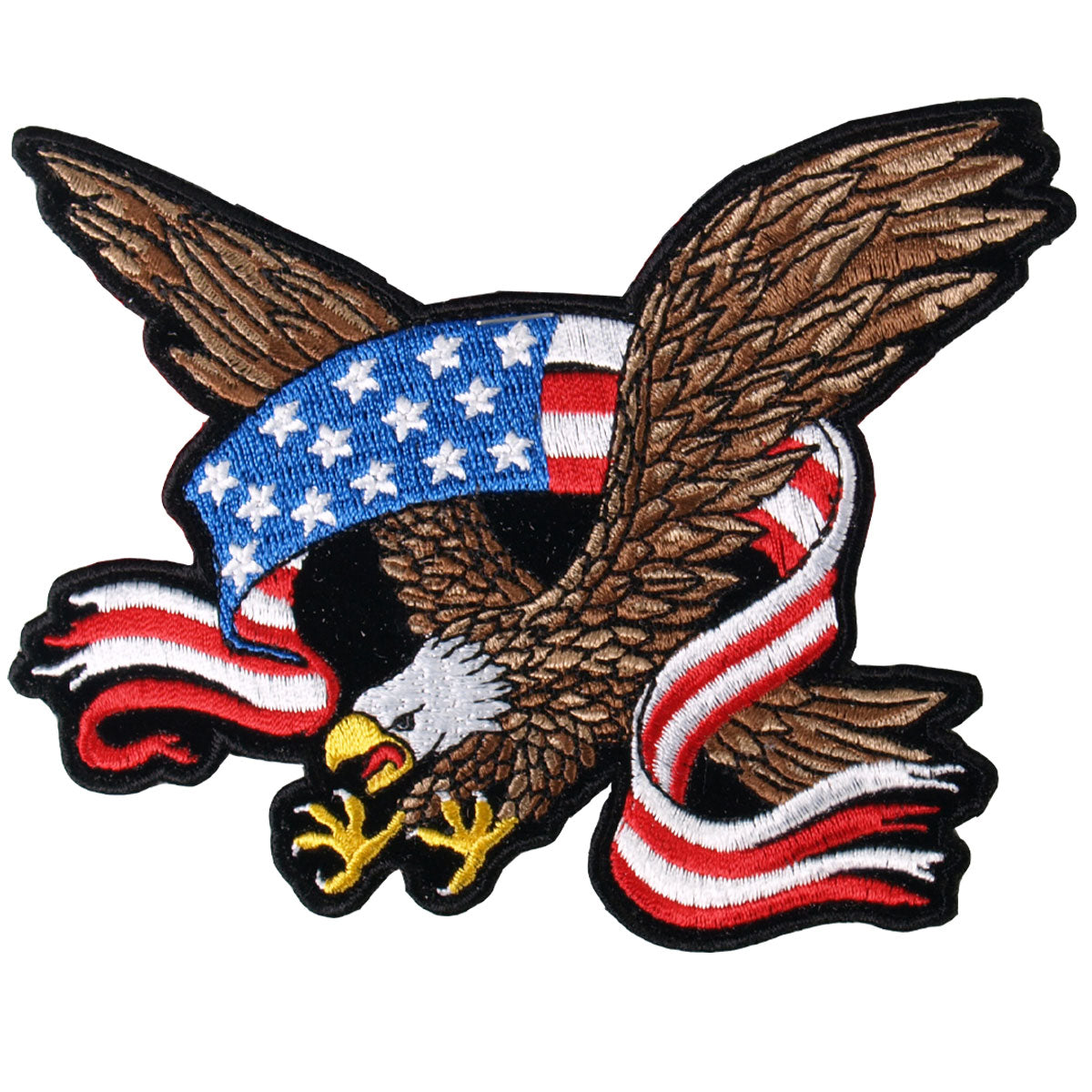 "Hot Leathers American Flag Banner Eagle 11"" x 9"" Patch"