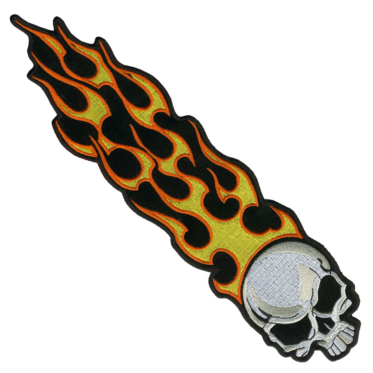 "Hot Leathers Long Flaming Skull 1"" x 5"" Patch"