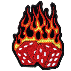 "Hot Leathers Flaming Dice 3"" x 4"" Patch"