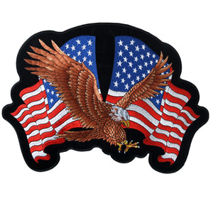 "Hot Leathers Eagle 2 Flags 12"" x 8"" Patch"