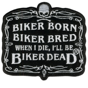"Hot Leathers Biker Born 4"" x 3"" Patch"