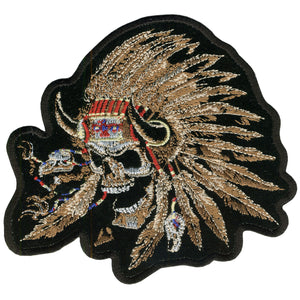 "Hot Leathers Indian Skull 12"" x 10"" Patch"