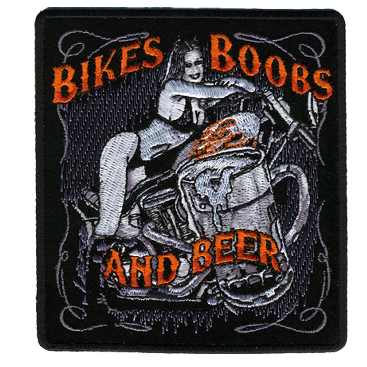 "Hot Leathers Bikes, Boobs & Beer 4"" x 5"" Patch"