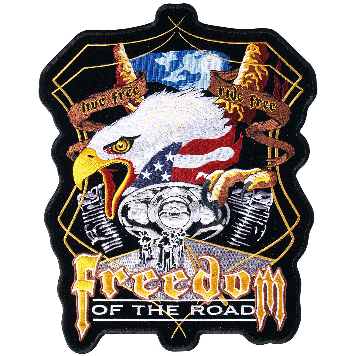 "Hot Leathers Midnight Eagle Biker 9"" x 11"" Patch"