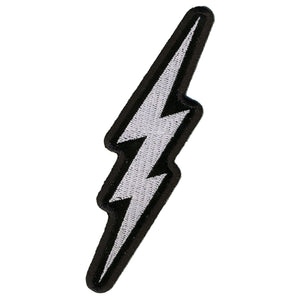 "Hot Leathers Silver Lightening Bolt 2"" x 5"" Patch"