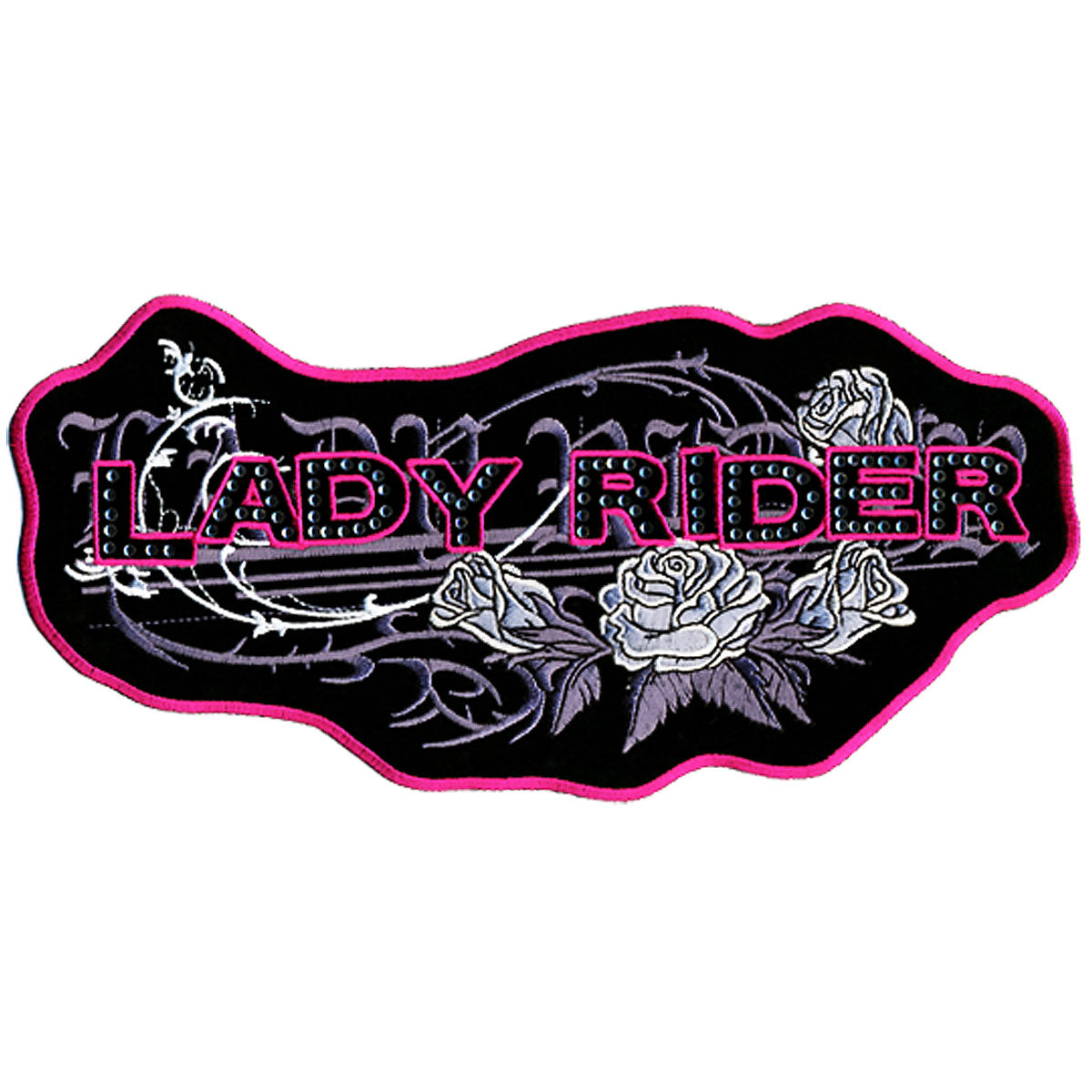 "Hot Leathers Lady Rider Roses 10"" x 5"" Patch"