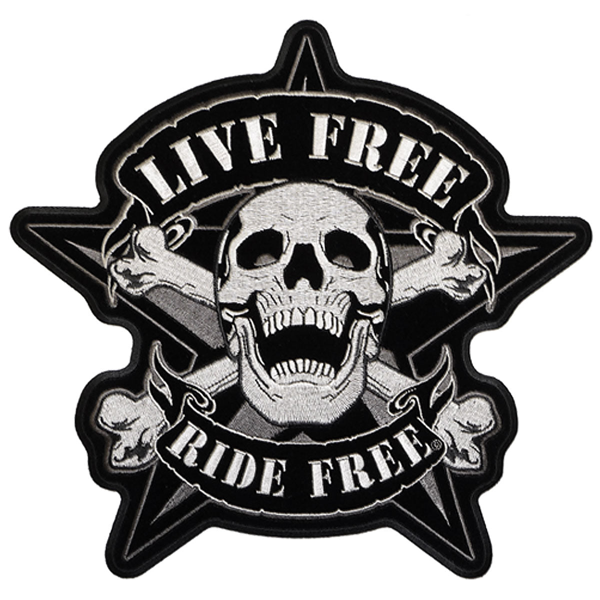 "Hot Leathers Live Free Skull Biker 11"" x 11"" Patch"