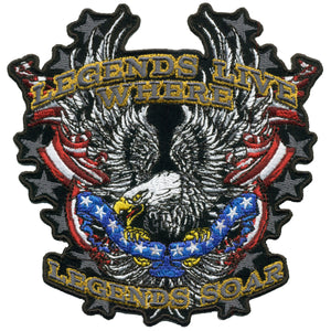 "Hot Leathers Legends Soar Patriotic Eagle 11"" x 11"" Patch"