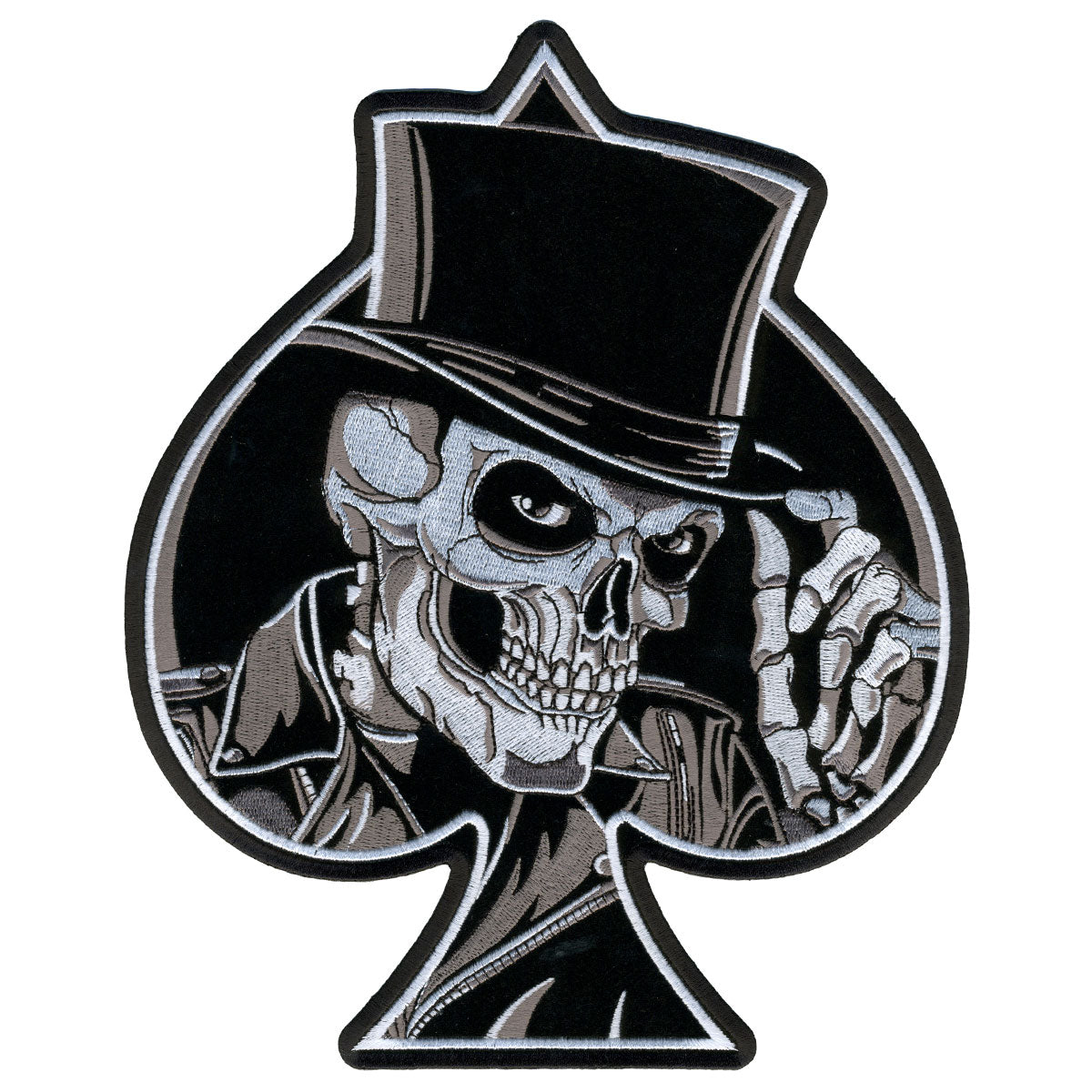"Hot Leathers Top Hat Skull 8"" x 10"" Patch"
