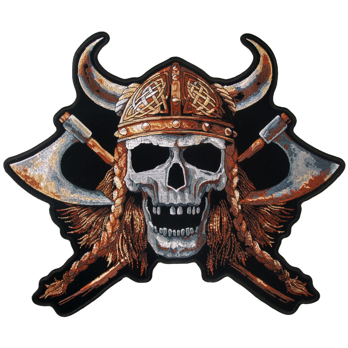 "Hot Leathers Viking Skull 12"" x 10"" Patch"
