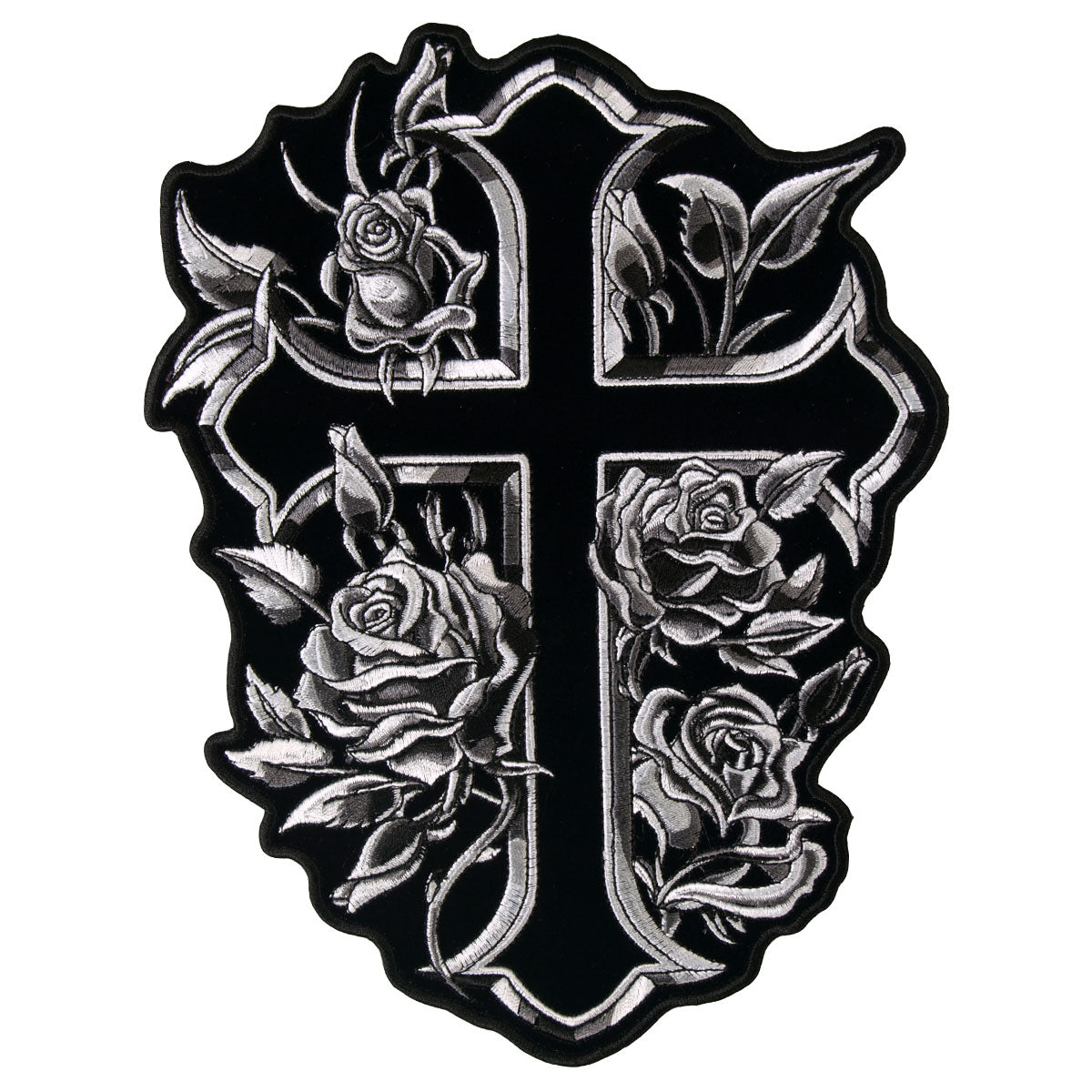 Hot Leathers Cross and Roses Patch