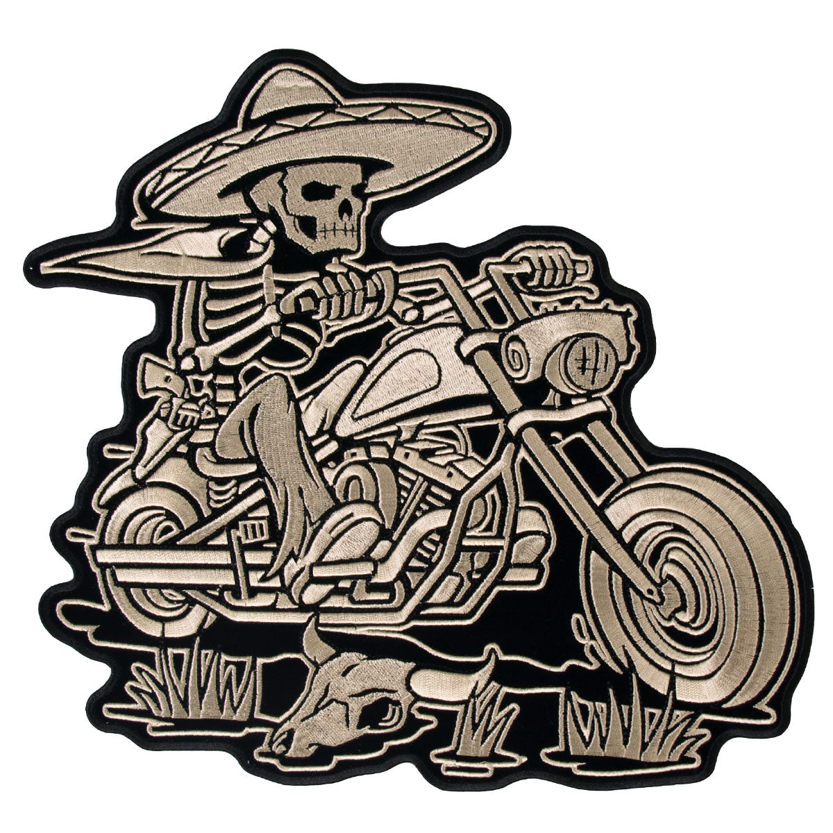 "Hot Leathers Sombrero Skeleton Rider 11"" x 10"" Patch"