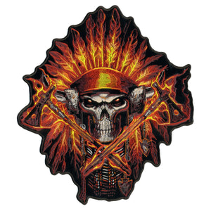 "Hot Leathers Flame Headress Indian 11"" x 12"" Patch"