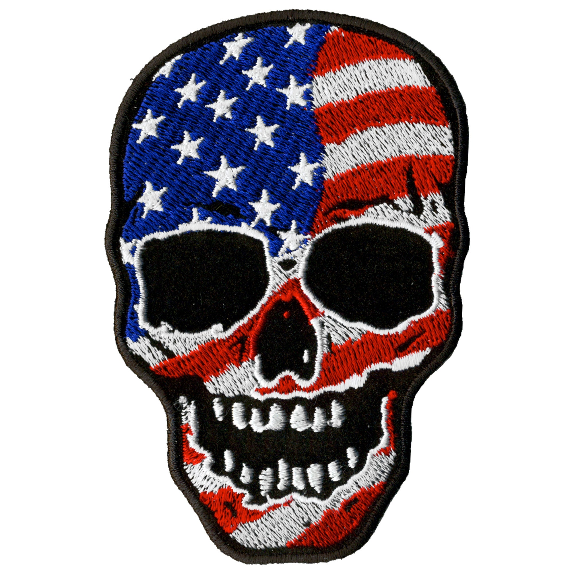 "Hot Leathers 3"" x 4"" American Flag Skull Patch"