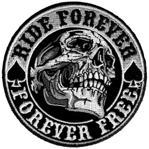 "Hot Leathers 3.5"" x 3.5"" Ride Forever, Forever Free Skull Patch"
