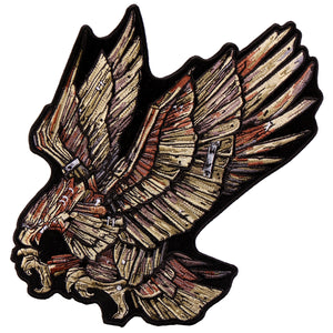 "Hot Leathers Wood Eagle 8"" x 10"" Patch"