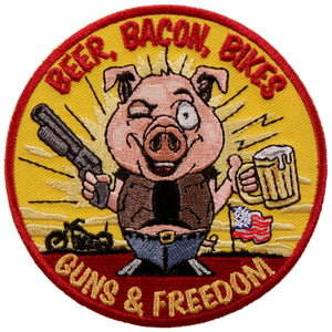 "Hot Leathers Beer Bacon Bikes and Guns 4""x4"" Patch"