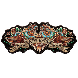 "Hot Leathers Lady Rider Banner Eagle 8""x3"" Patch"