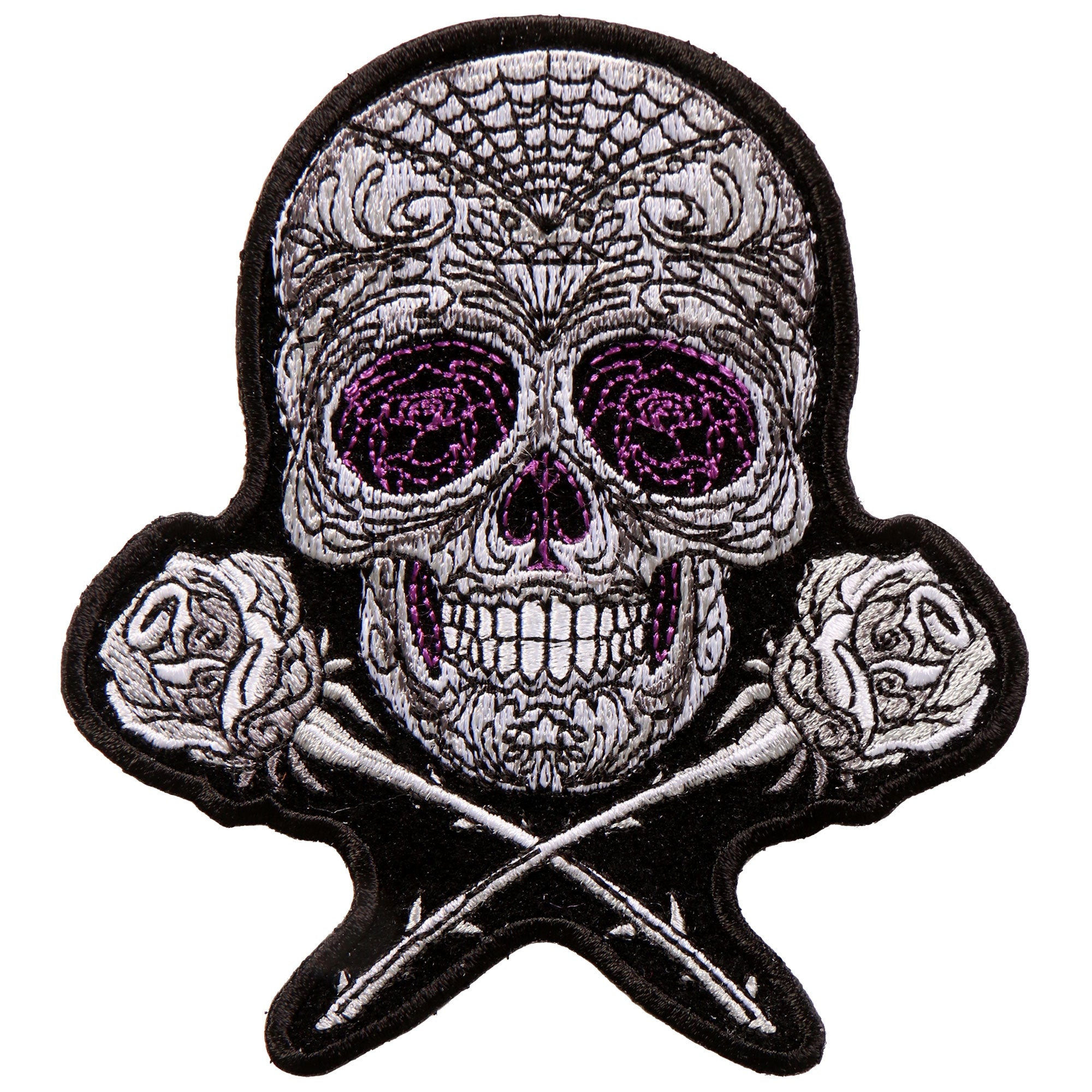 "Hot Leathers Roses Sugar Skull 4""x5"" Patch"