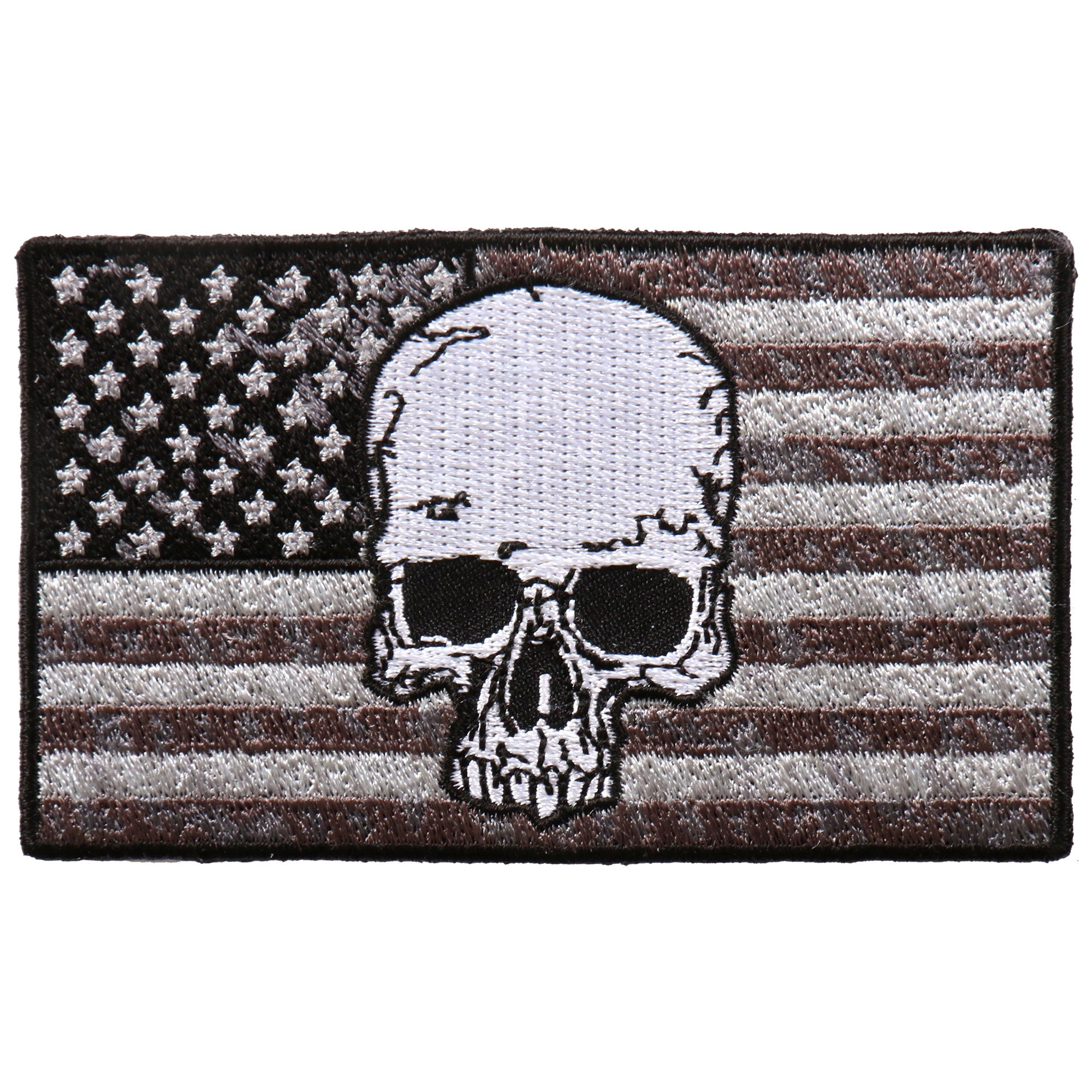 "Hot Leathers Gray Flag Skull 4""x2"" Patch"