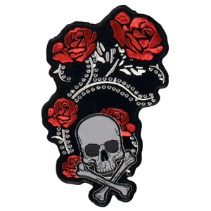 PATCH RED FOIL ROSES STUDD 4""