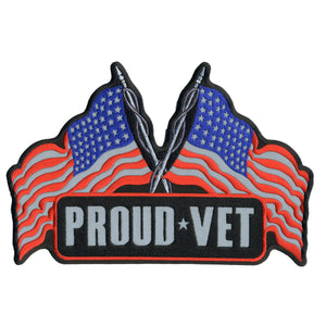 "Hot Leathers Proud Vet Reflective 10"" x 7"" Patch"