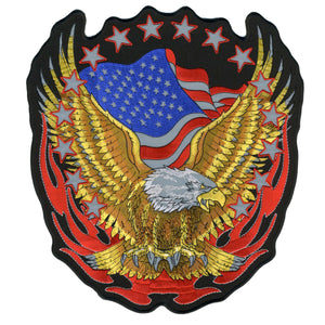 "Hot Leathers Reflective Eagle 10"" x 12"" Patch"