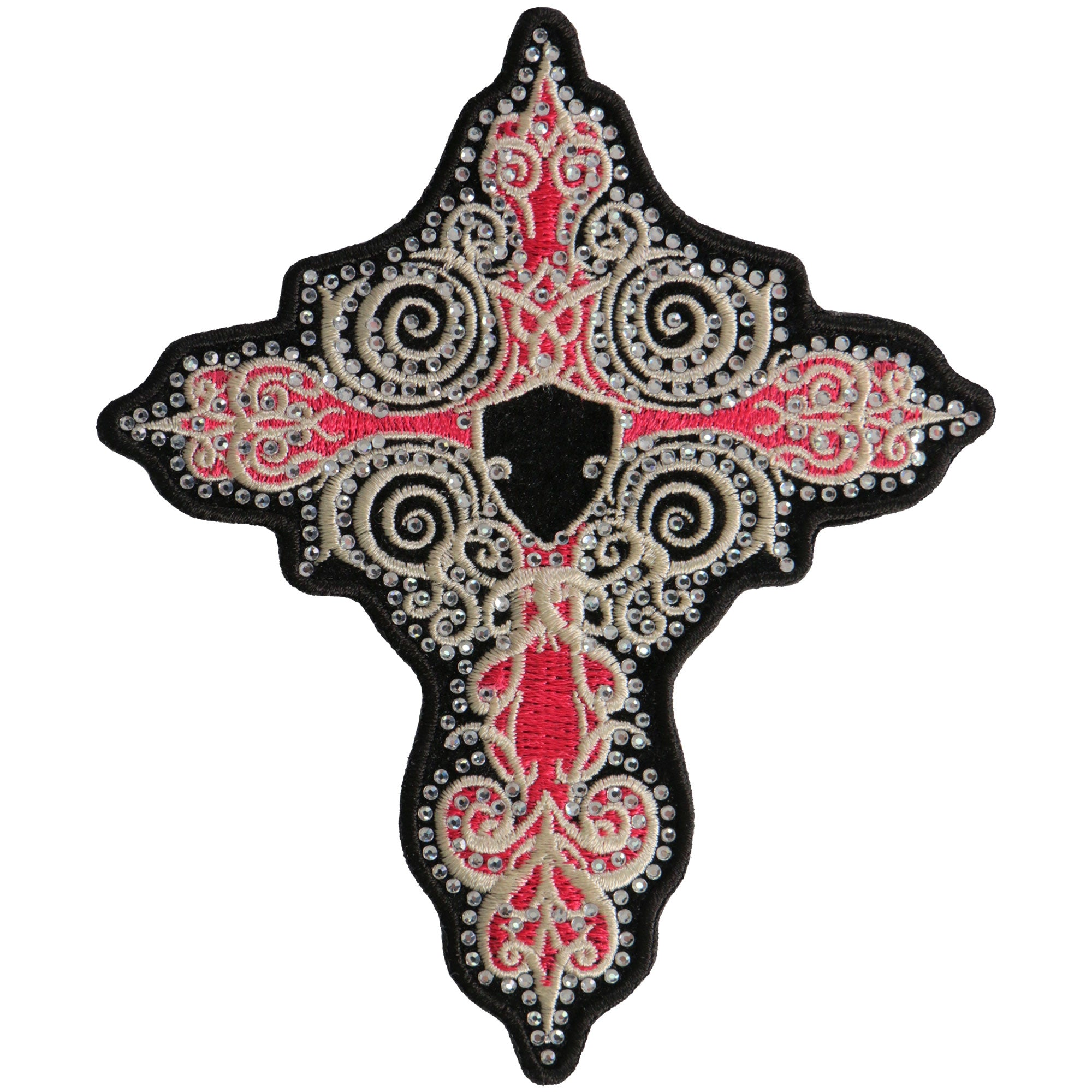 "Hot Leathers 5"" Rhinestone Pink Cross Patch"