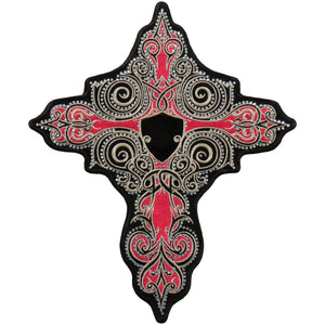 "Hot Leathers 9"" Pink Stone Cross Patch"