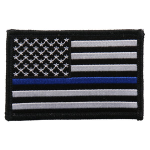 "Hot Leathers Flag Thin Blue Line Embroidered 3""x2"" Patch"