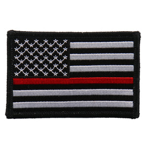 "Hot Leathers Flag Thin Red Line Embroidered 3""x2"" Patch"