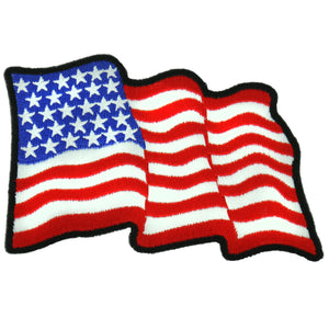 "Hot Leathers Wavy U.S. Flag 4"" x 3"" Patch"
