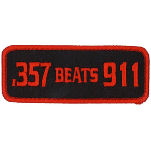 "Hot Leathers 357 Beats 911 4"" x 2"" Patch"