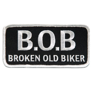 "Hot Leathers Broken Old Biker 4"" x 2"" Patch"