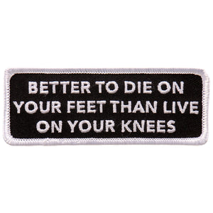 "Hot Leathers Die on your Feet 4""x2"" Patch"