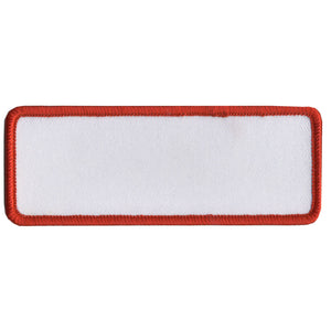"Hot Leathers Blank White w/ Red Trim 4"" x 1.5"" Patch"