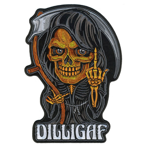"Hot Leathers Reaper Middle Finger DILLIGAF 10"" Patch"