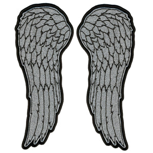 "Hot Leathers 10"" Metallic Silver Angel Wings Patch"