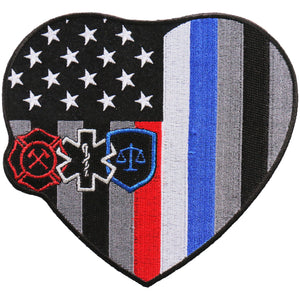 "Hot Leathers 6"" Heart First Responders Patch"