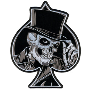 "Hot Leathers Top Hat Skull Hook and Loop 4"" x 5"" Patch"