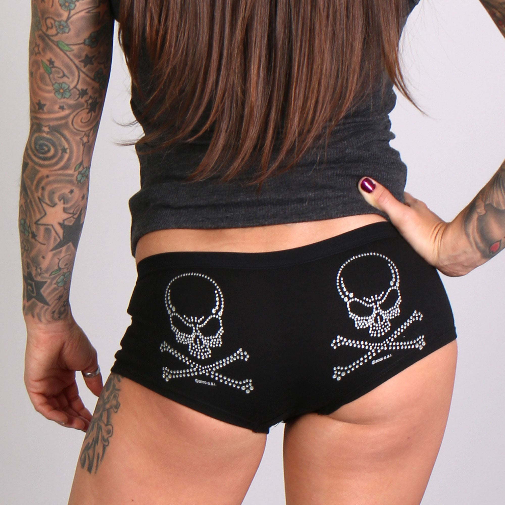 Hot Leathers Silver Glitter Ink Skull and Crossbones Ladies Boy Shorts