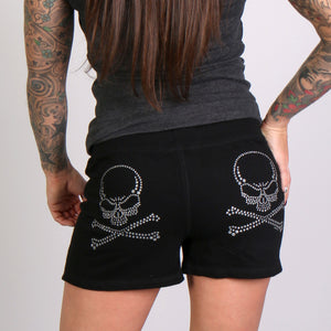 Hot Leathers Silver Glitter Ink Skulls and Crossbones Sweat Shorts