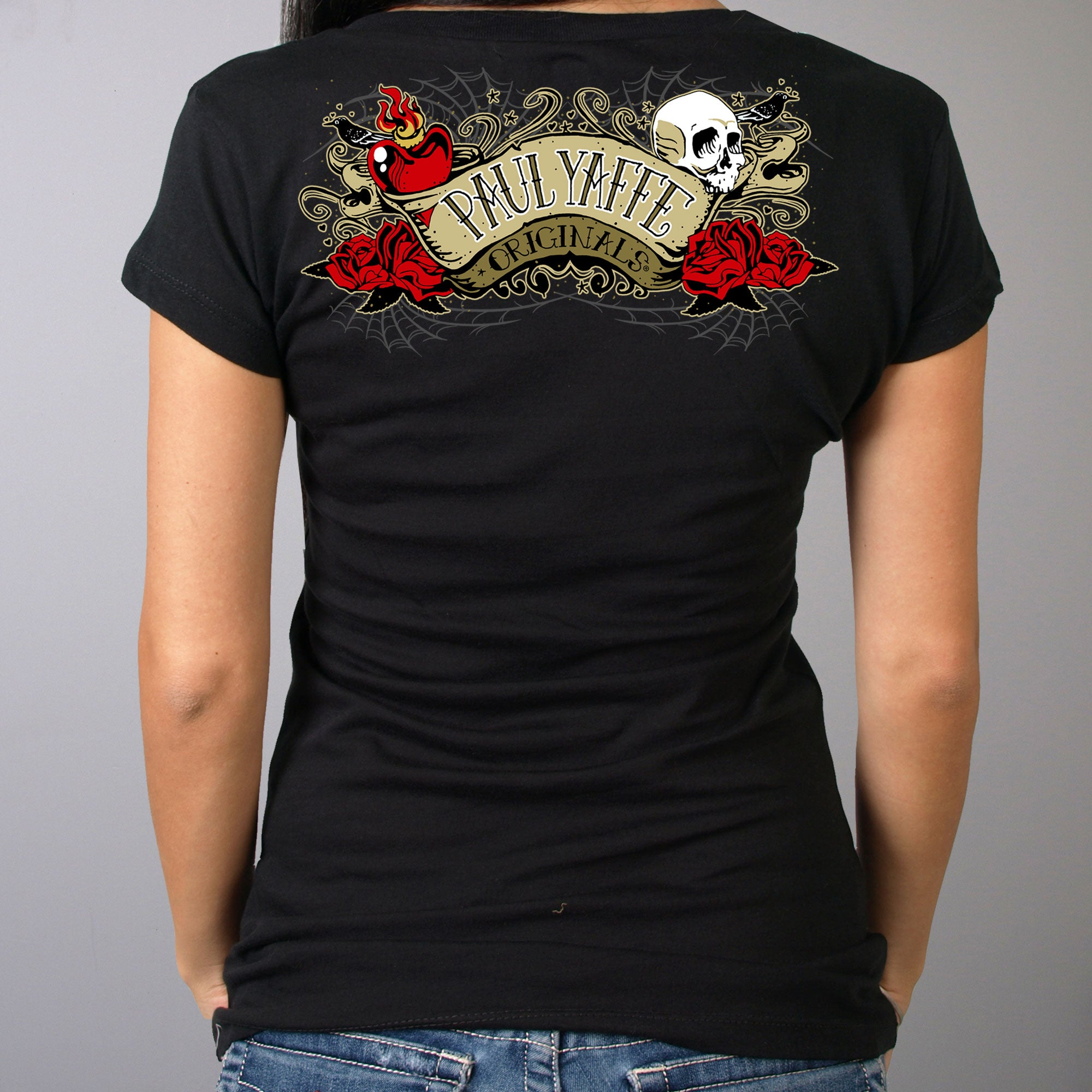 Official Paul Yaffe's Bagger Nation Skull Banner Ladies Double Sided T-Shirt