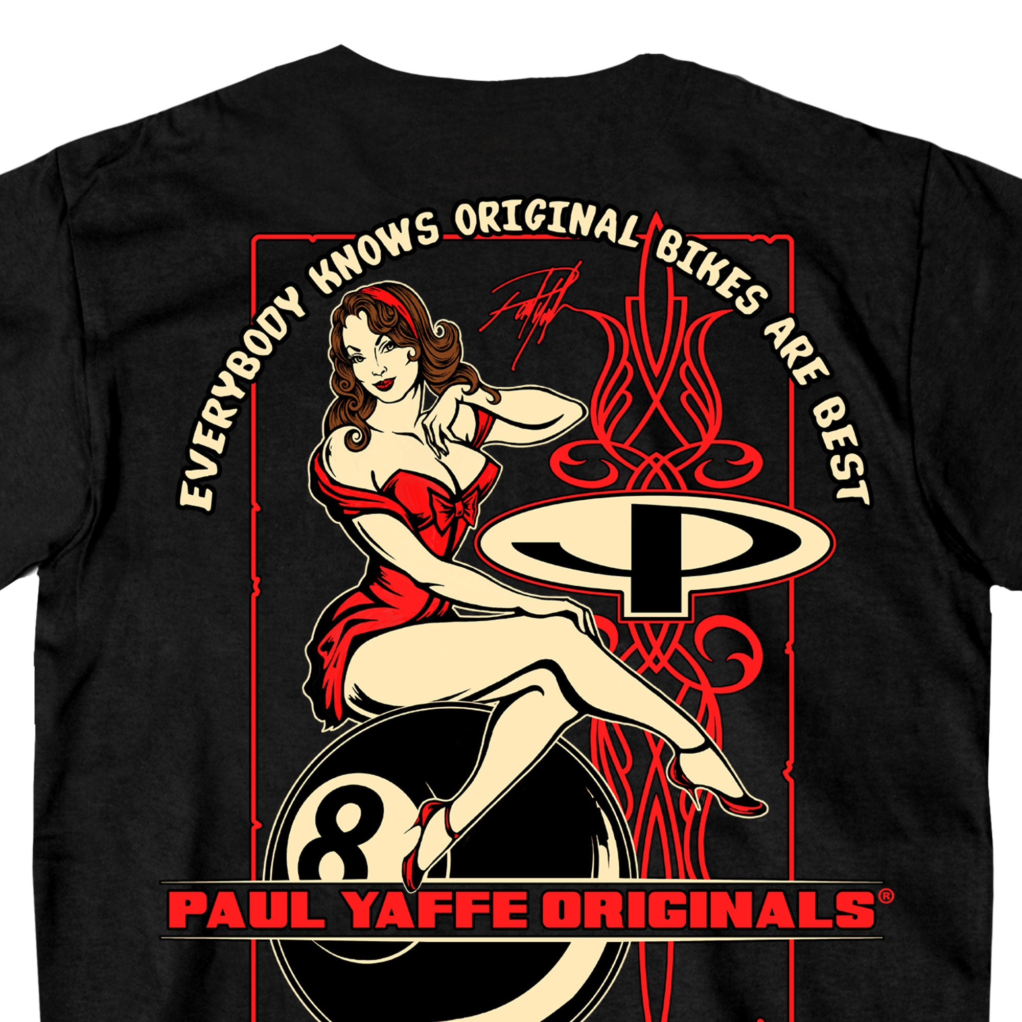 Official Paul Yaffe's Bagger Nation 8 Ball Pin Up T-Shirt
