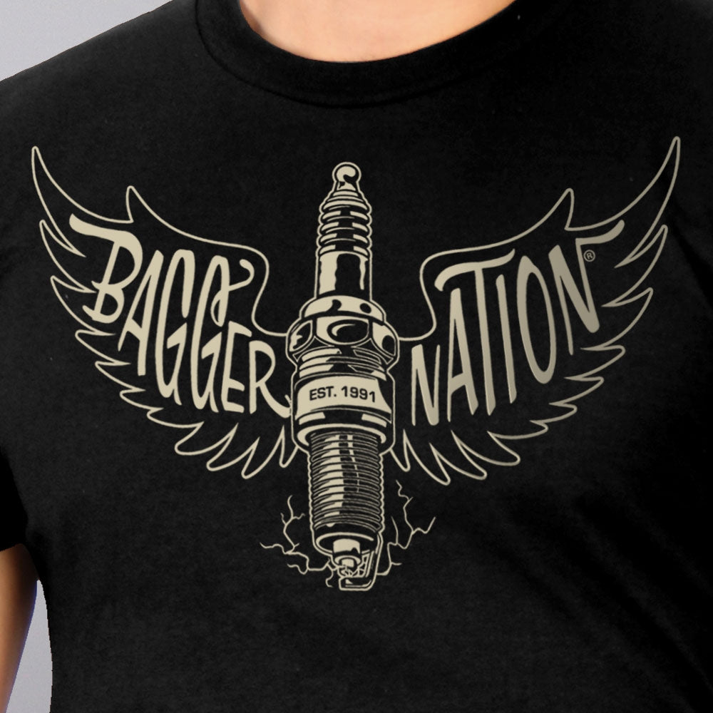 Official Paul Yaffe's Bagger Nation Spark Plug Two Sided T-Shirt