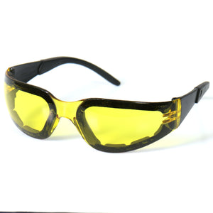 Hot Leathers Rider Sunglasses with Padding and Yellow Lenses