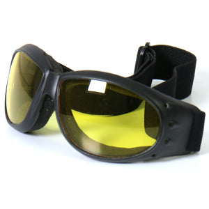 Hot Leathers Eliminator Style Motorcycle Riding Goggles with Yellow Lenses
