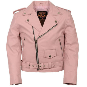 Milwaukee Leather SH2010 Girls Pink Classic Style Leather Motorcycle Jacket - Milwaukee Leather Kids Leather Jackets